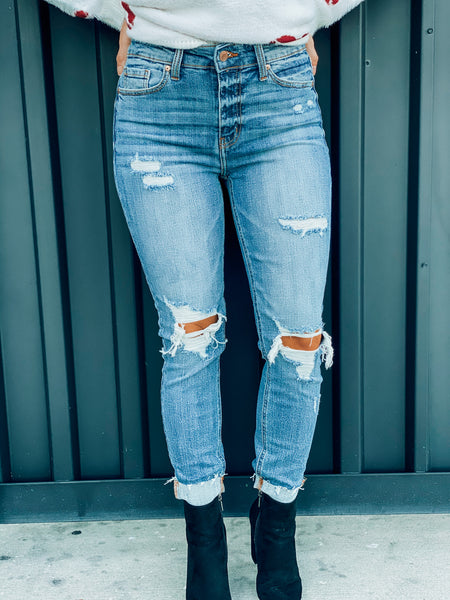 Alyssa Distressed High Rise Jeans