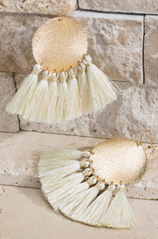 Ivory Disc Tassel Earrings