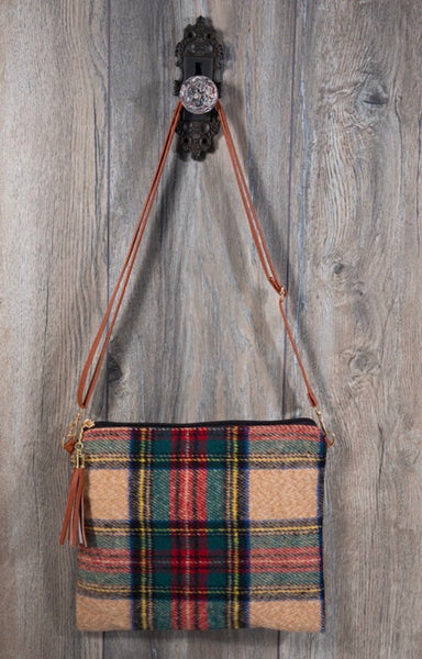 Beige Plaid Crossbody Clutch