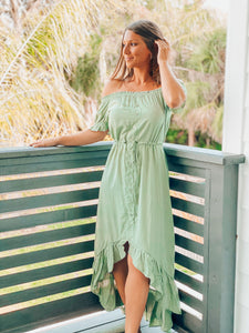 Sage Flare Swing High Low Dress