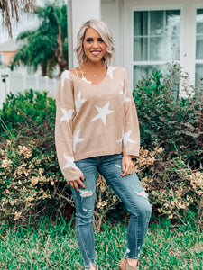 Taupe Star Printed Sweater