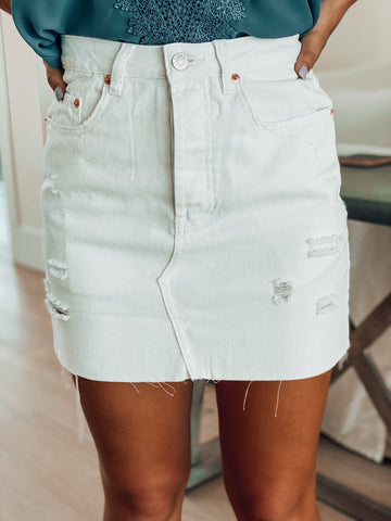 Destroyed White Denim Skirt