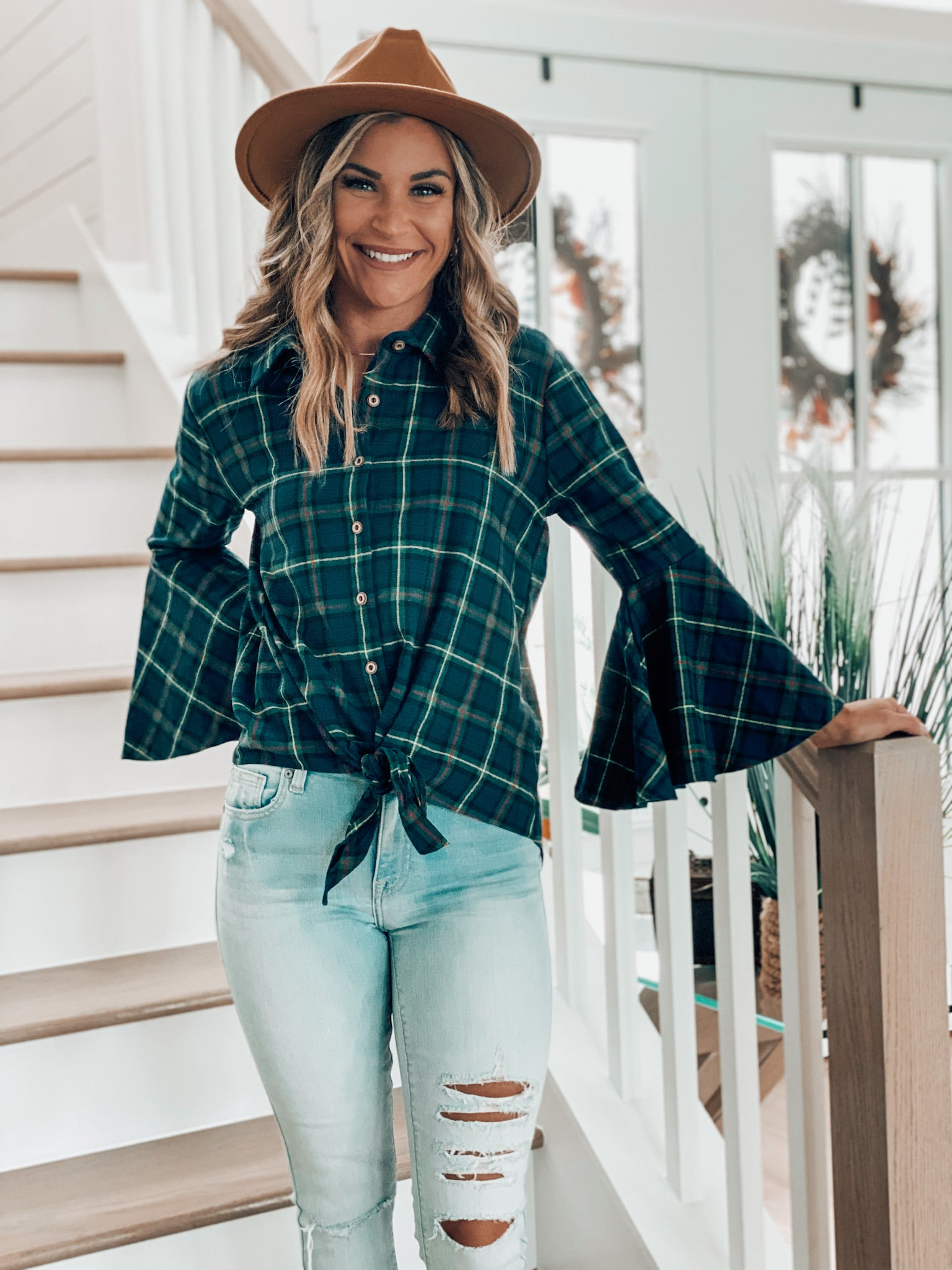 Navy Plaid Bell Sleeve top