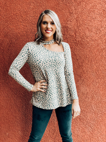 Leopard Long sleeve Chocker Top
