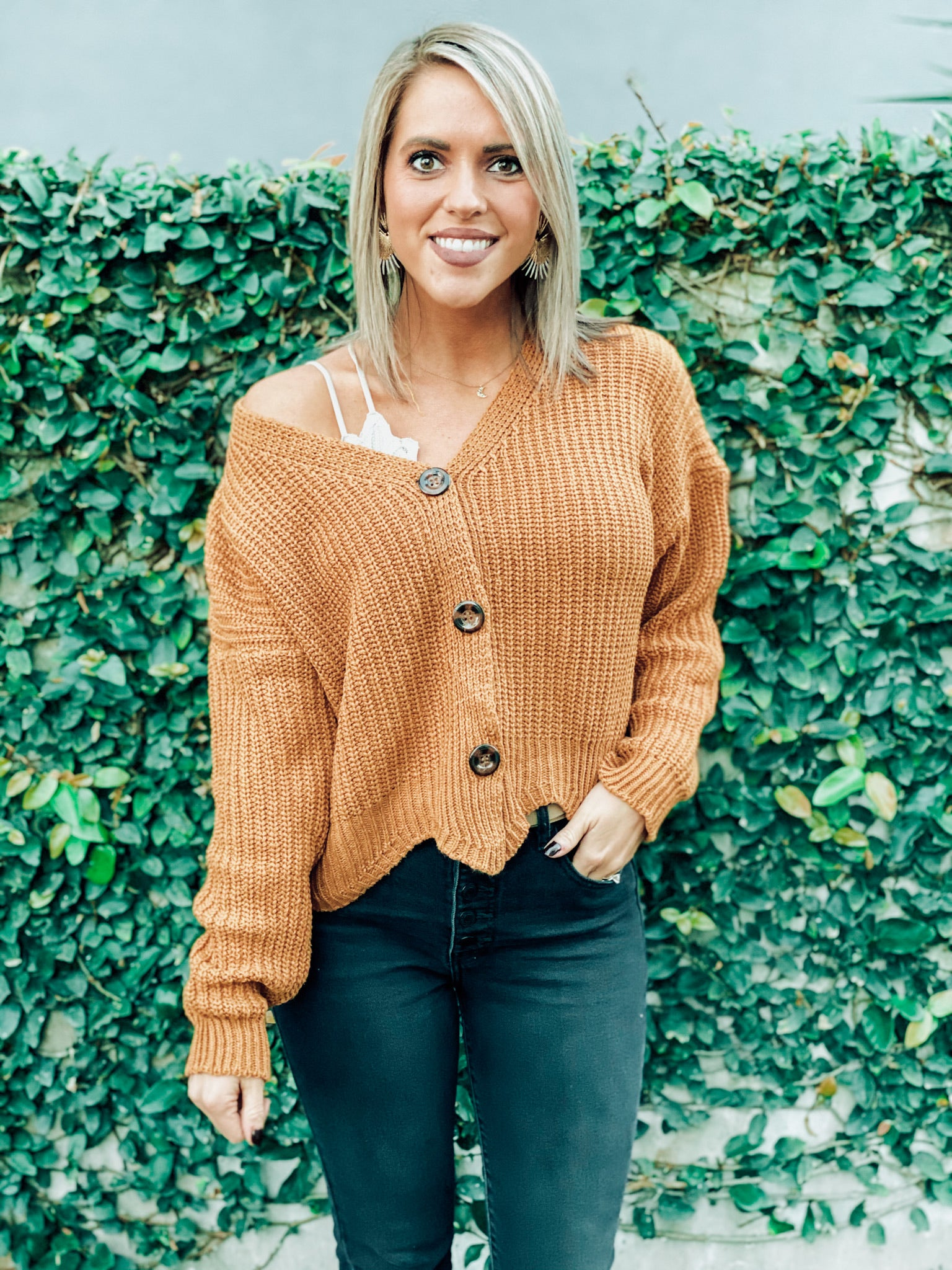 Camel Button Crop Sweater