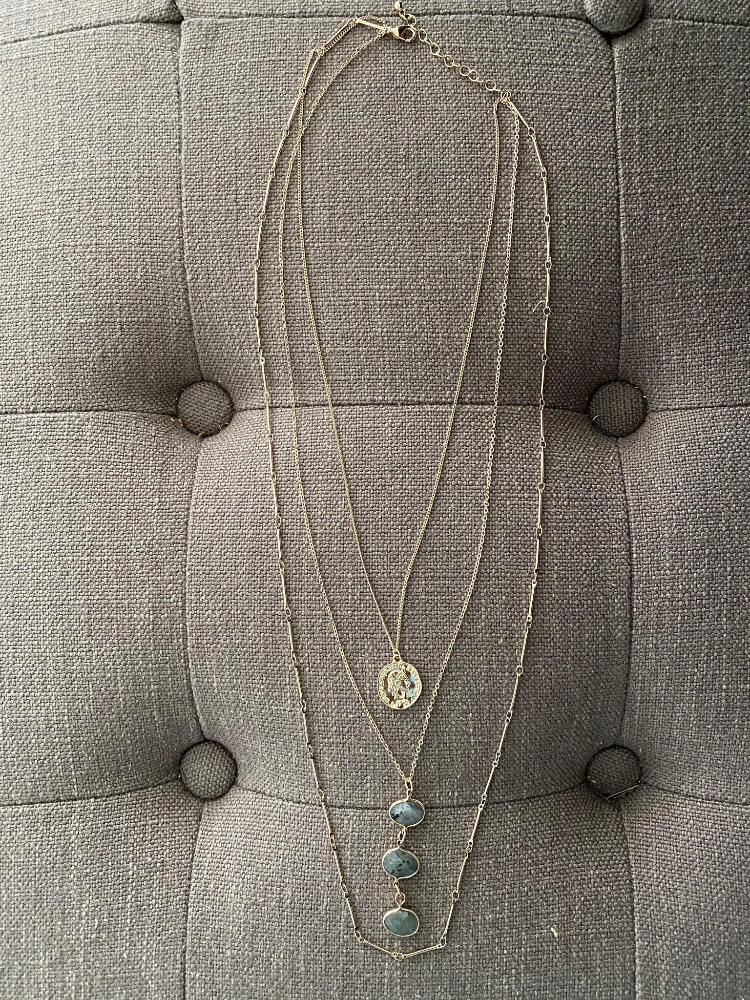 Triple Stone Layered Necklace