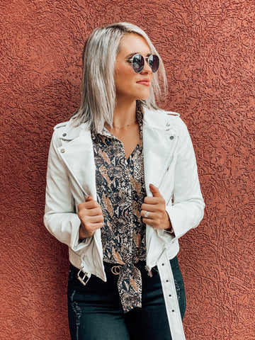 White Faux Leather Zipper Crop Jacket