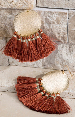 Rust Disc Tassel Earrings