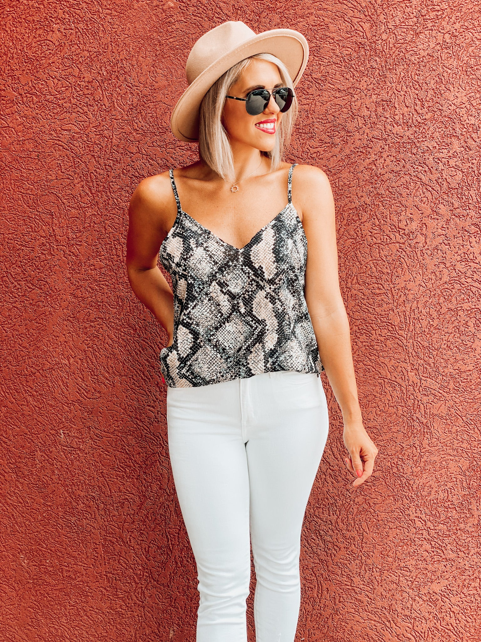 Taupe/Black Snake Bubble Cami