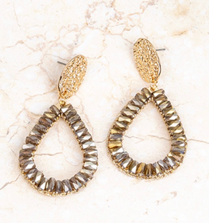Clear Brown Drop Earrings