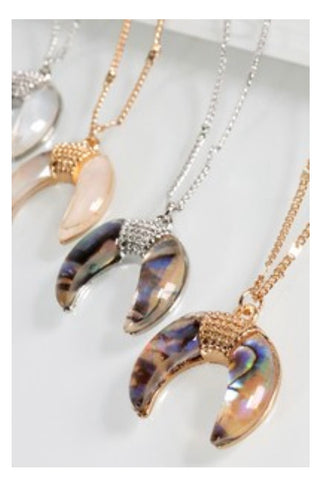 Gold Abalone Crescent Necklace