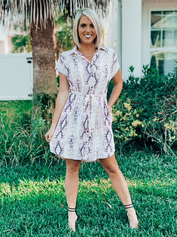 Purple Snake Skin Woven Button Down Dress