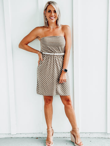 Mocha Strapless Striped Dress w/ Belt