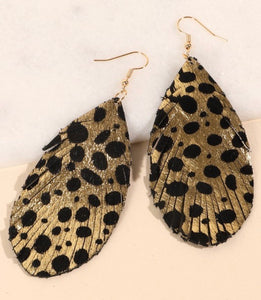 Gold Metallic Speckled Feather Earrings