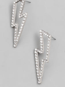 Silver Lightening Bolt Earring