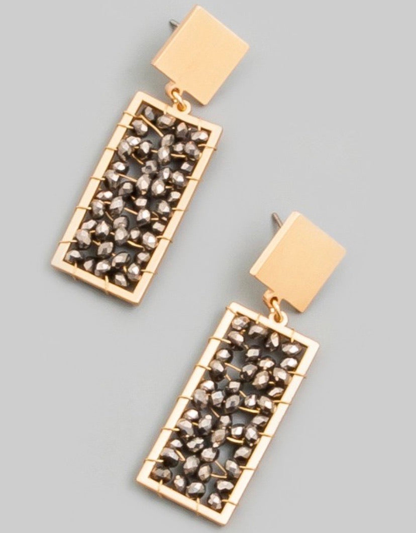 Gray Rectangle Beaded Earrings