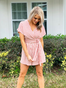 Crimson Red Striped Romper