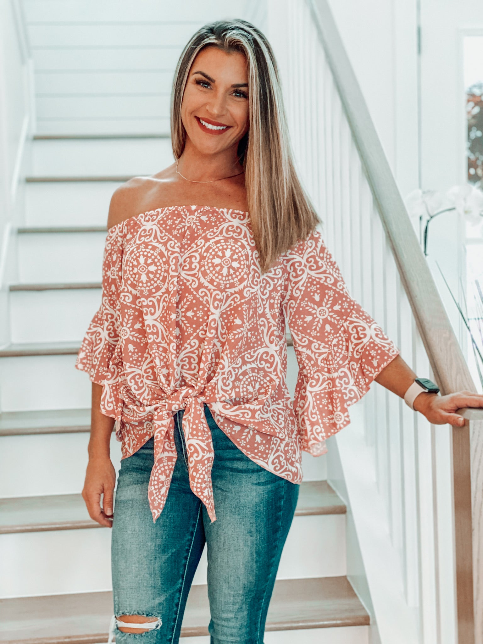 Pink Paisley Off Shoulder Tie Top