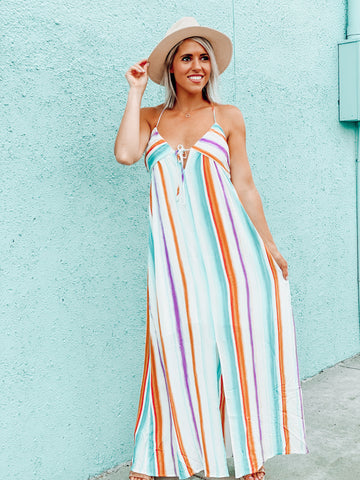 Front Slip Multi Stripe Maxi Dress