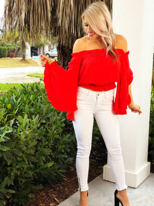 Red Off Shoulder Belle Sleeve Top