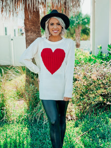 Ivory Body Red Heart Sweater
