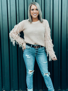 Blush Fringe Sleeve Sweater