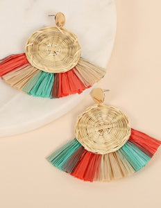 Multi Round Shaped Rattan Earrings