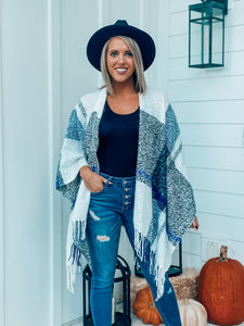 Ivory/Navy Pancho