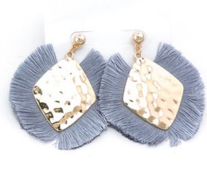 Ice Grey w/ Gold Plate Fringe Earrings