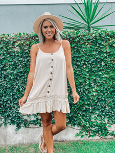 Creamy Country Button Detail Dress