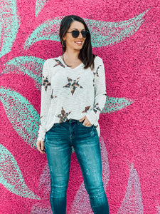 Leopard Star Long-sleeve Top
