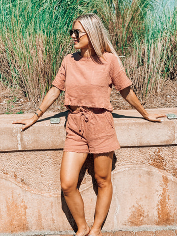 Beach Dayz Blush Shorts Set