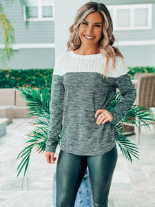 ColorBlock Crochet Longsleeve Top
