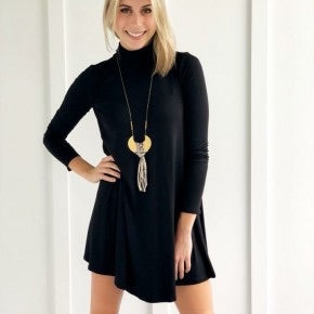Black Cotton Turtleneck Dress