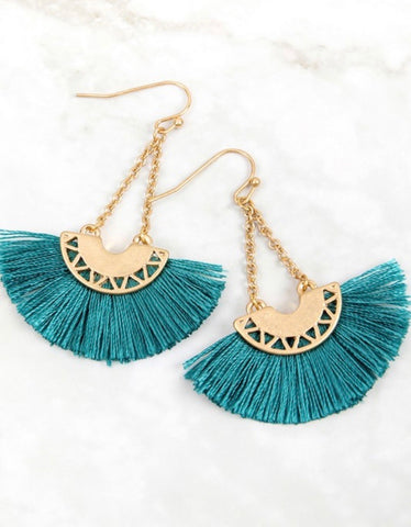 Turquoise Chained Drop Tassel Earrings