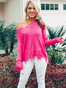 Fuchsia V Neck Frayed Sweater