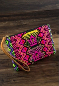 Neon Multicolor Aztec Clutch
