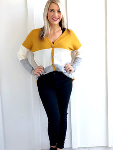 Color Block Mustard Top with Tie Front