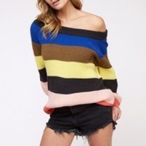 Stripe Multi Color Off Shoulder Top