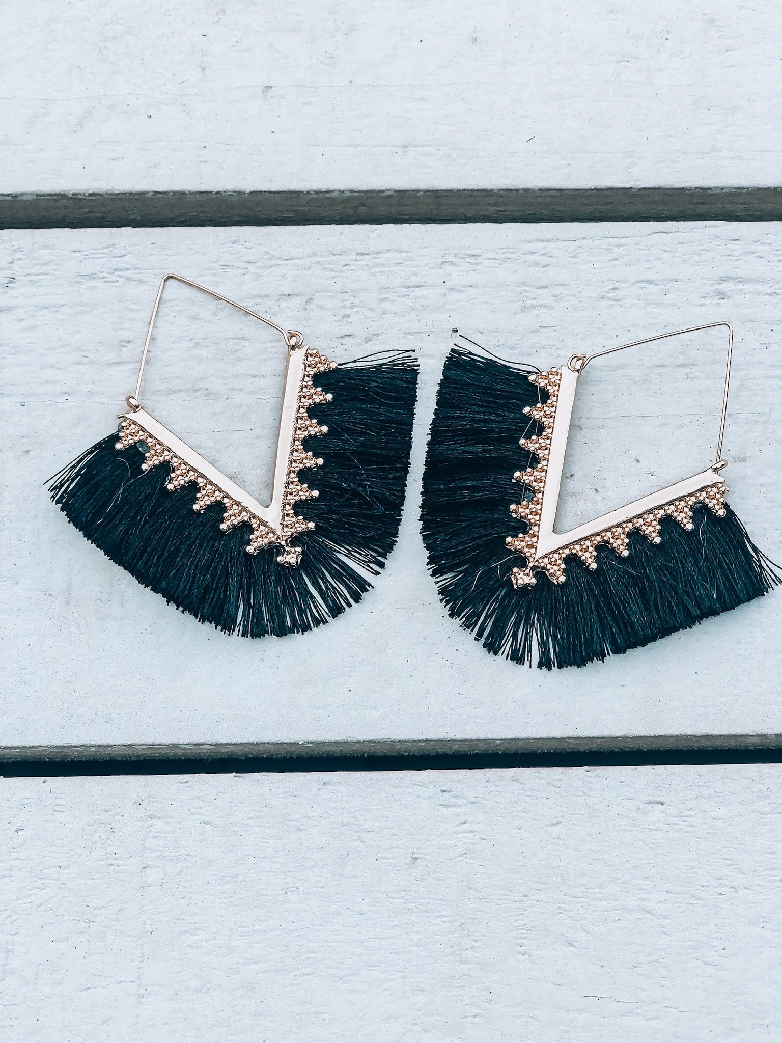 Black Boho Tassel Earrings