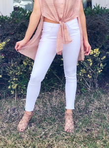 PAIGE - White Distressed Zipper Jeans