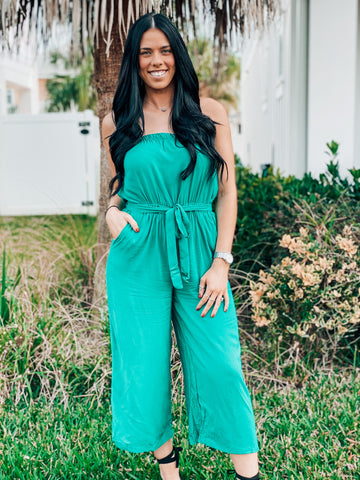 Emerald Green Tube Top Jumpsuit