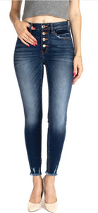 MacKenzie- Frayed Button Fly Jeans