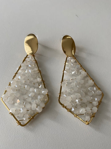White Allure Drop Earrings