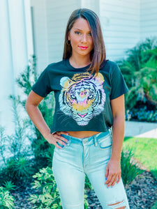 Black Tiger Crop Top
