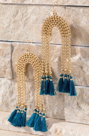 Dark Teal U-Shaped Tassel Earrings
