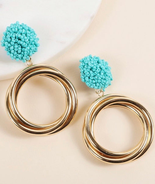 Gold Circle Turquoise Pom Pom Earrings