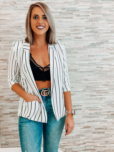 White and Black Pin Striped Blazer