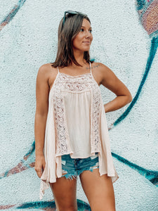 Peach Crochet Lace Trim Tank