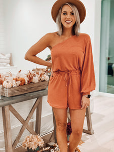 Rust One Shoulder Ribbed Romper